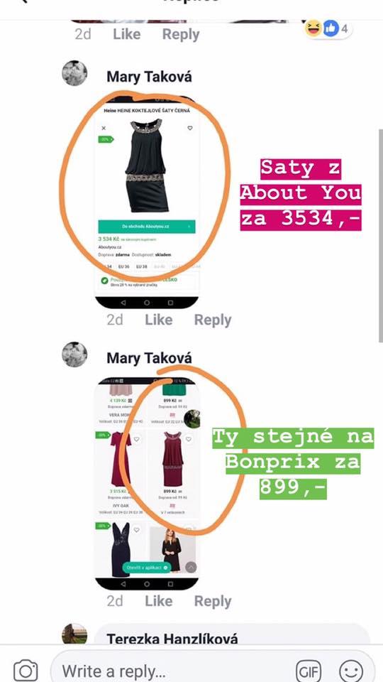 6f8f12364ded Ukázka ceny stejných šatů na ABOUT YOU a na webu Bonprixu. Zdroj  Facebook    Tereza Šibalová