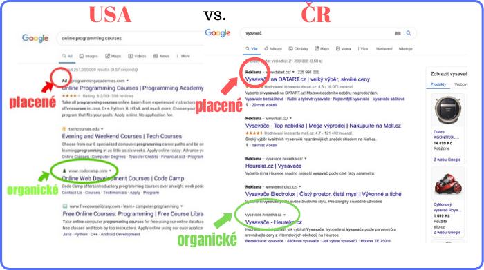 Vzhled placených reklam v Googlu